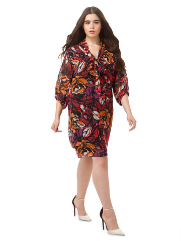 Printed Tunic Dress In Marsala