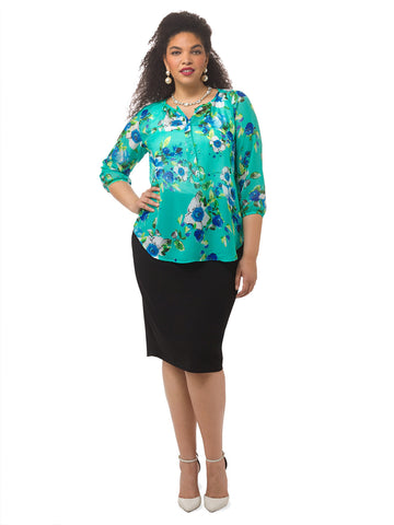 Livia Blouse In Mint Floret