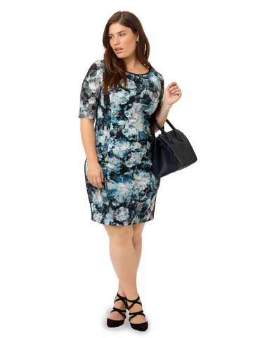 Sheath Dress In Abstract Floral Print