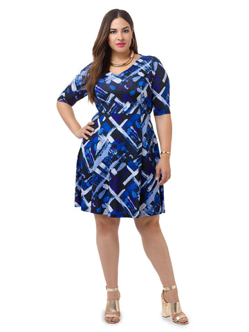 Abstract Printed Fit & Flare Dress