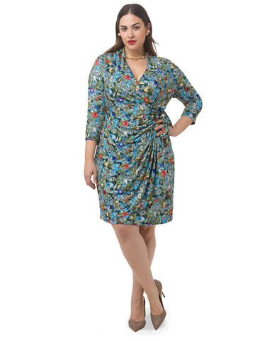 Retro Floral Faux Wrap Dress