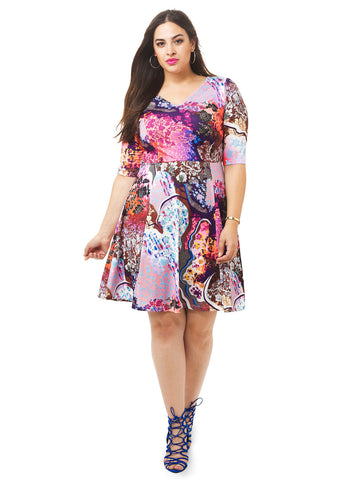 Mystic Floral Print Fit & Flare Dress
