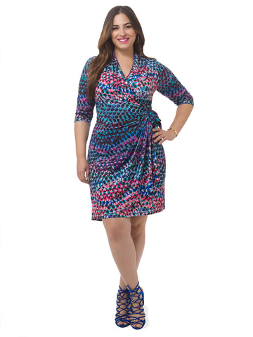 Mosaic Printed Faux Wrap Dress
