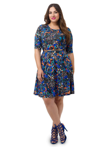 Stained Glass Printed Fit & Flare Dress