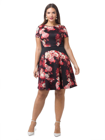 Scuba Floral Fit And Flare Dress