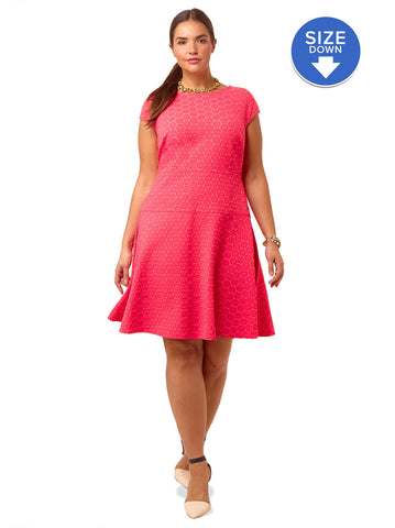 Textured Fit & Flare Dress In Coral