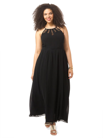 Lace Spliced Maxi Dress