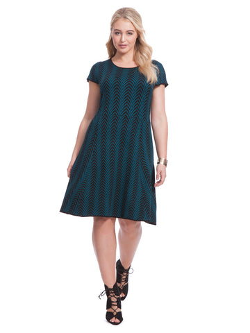 Chevron Sweater Dress In Black & Teal