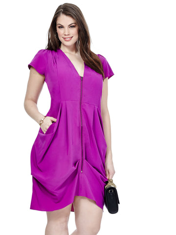 Zip Front Tunic Dress In Orchid