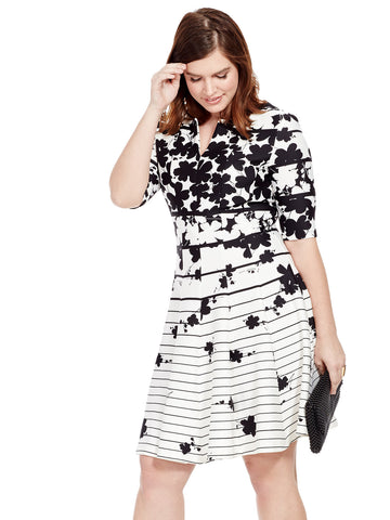Black & White Dress In Mixed Print