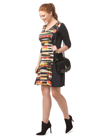 Paper Mache Colorblock A-Line Dress