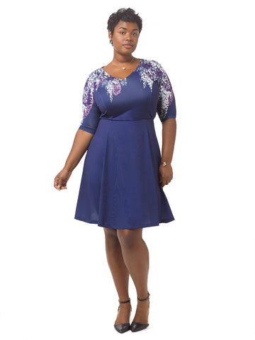 Wisteria Print Fit & Flare Dress