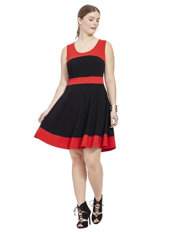 Black Spliced Skater Dress With Cherry Red Trim