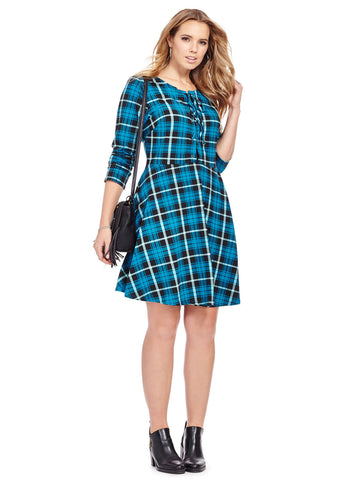 Lace Up Dress In Teal Check