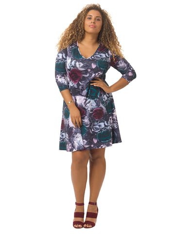 Rose Printed A-Line Dress