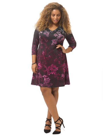 Floral Ombre Printed A-line Dress