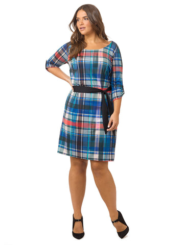Plaid Printed Belted Shift Dress