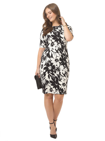 Sheath Dress In Black & White Floral