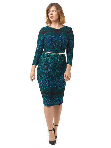 Sheath Dress In Teal Print