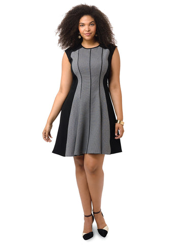 Fit & Flare Dress In Gray Colorblock