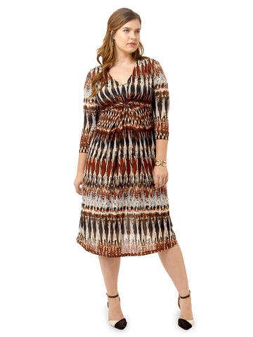 Maroon Rustic Printed Jersey Dress