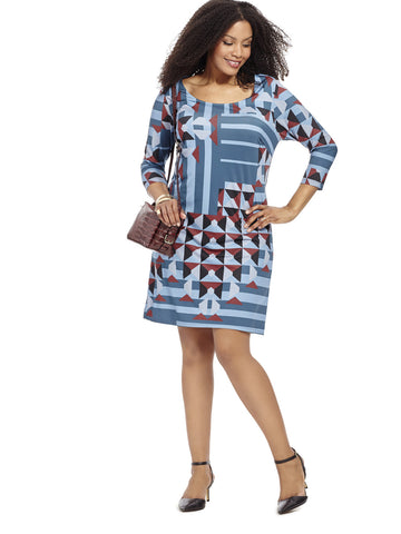 Geo Illusion Shift Dress