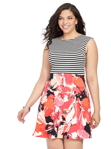 Dress in Mixed Print