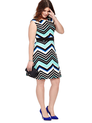 Fit & Flare Dress In Mixed Chevron