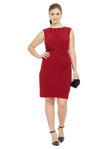 Origami Pleated Dress in Red