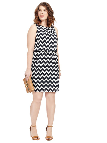 Black & White Chevron Blouson Dress