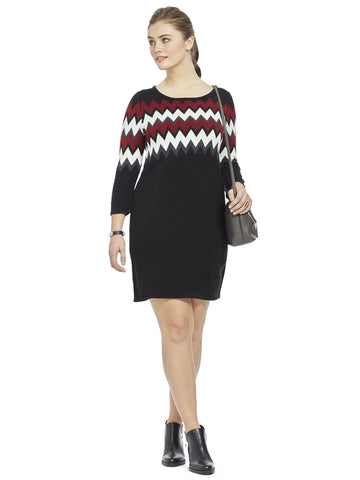 Sweater Dress In Red & Ivory Chevron