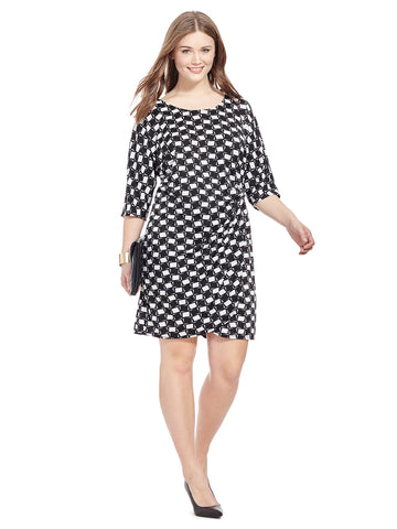 Geo Print Dress With Side Gather