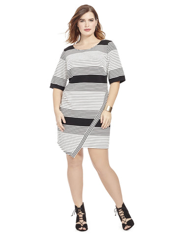 Striped Asymmetrical Hem Dress