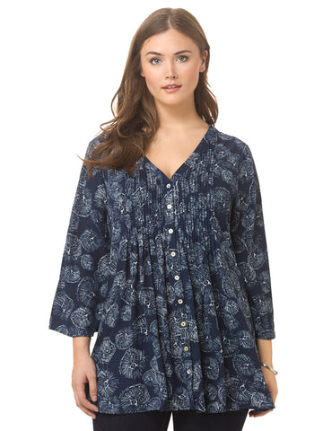 Pintuck Bell Sleeve Blouse In Vivian Angel