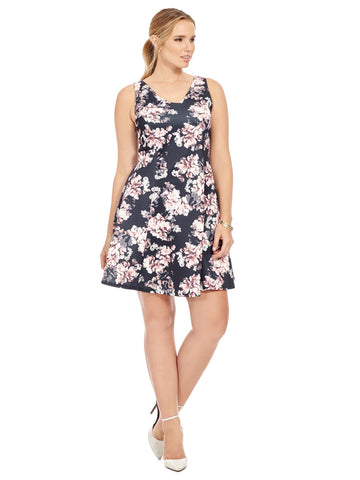 Skater Dress In Hydrangea Print