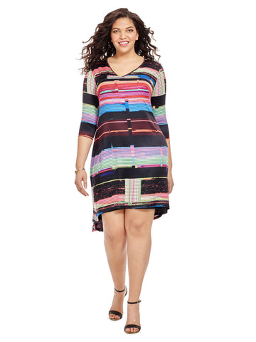 Multi-Colored Abstract Printed Hi-Lo Dress