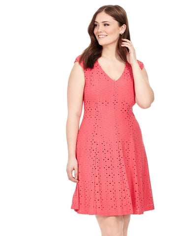 Eyelet V-Neck Dress In Sugar Pink
