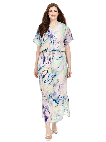Pastel Printed Drawstring Maxi Dress