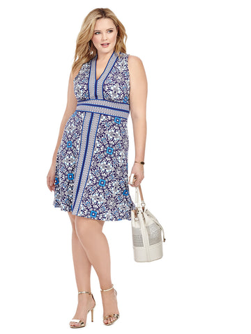 Blue Floral Dress With Border Print