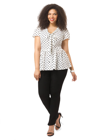 Dotty Tie Neck Top