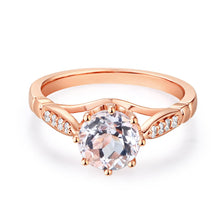 Load image into Gallery viewer, 14K Rose Gold Wedding Engagement Ring 1.2 Ct Topaz 0.1 Ct Natural Diamonds