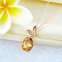 Load image into Gallery viewer, 14K Rose Gold 2 Ct Citrine Butterfly Pendant Necklace 0.17 Ct Diamond
