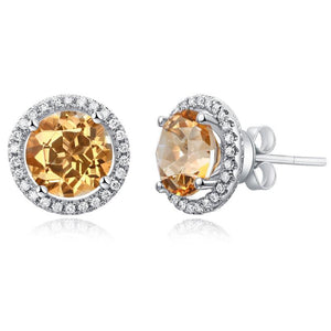 14K White Gold Stud Natural 2.5Ct Yellow Topaz Earrings Halo 0.285 Ct Diamonds