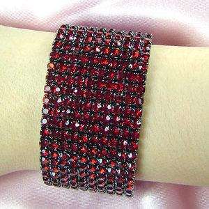 10 Row Dark Red Crystal Rhinestone Bangle Bracelet XB920