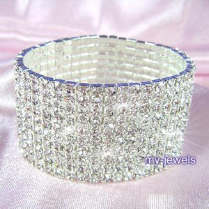 "10 Row Stretch Rhinestone Upper Arm Bracelet Armlet 8"" - 10""  XA015"