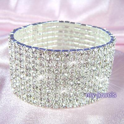 10 Row Stretch Rhinestone Upper Arm Bracelet Armlet 8