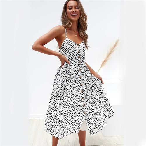 White Polka Dot Short Sleeve Frill Hem Midi Dress