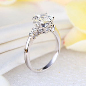 14K White Gold Wedding Engagement Ring 2 Ct Topaz 0.038 Ct Natural Diamonds