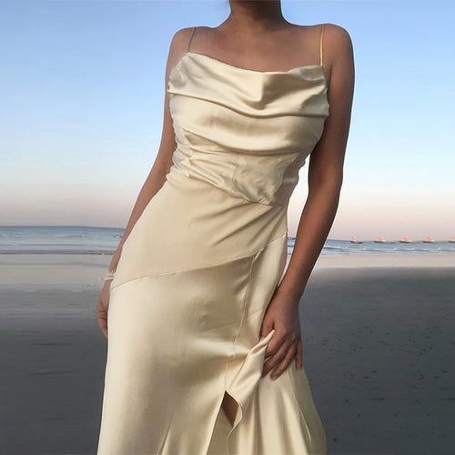 Champagne Strappy Satin Cowl Midi Dress