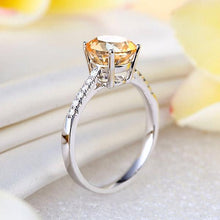 Load image into Gallery viewer, 14K White Gold Wedding Engagement Ring 2 Ct Yellow Topaz 0.12 Ct Natural Diamond